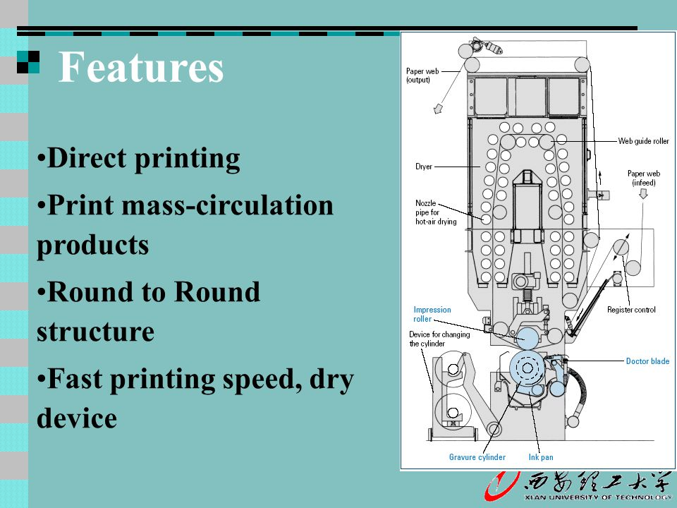 Features Direct printing Print mass-circulation products