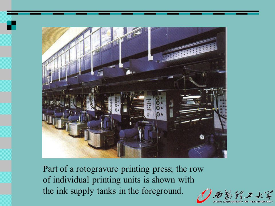 Part of a rotogravure printing press; the row