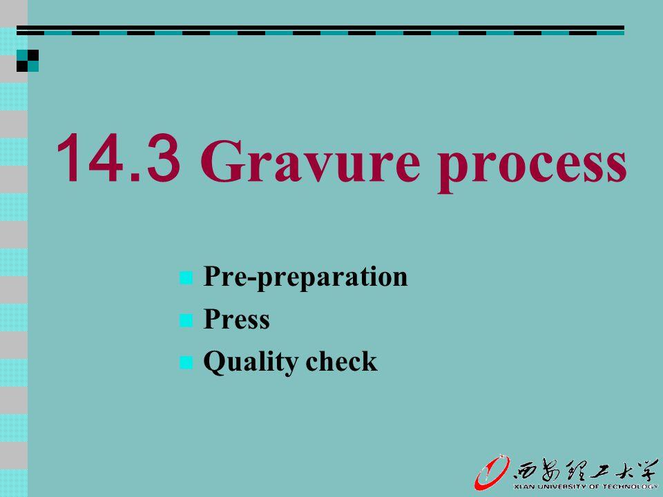 14.3 Gravure process Pre-preparation Press Quality check