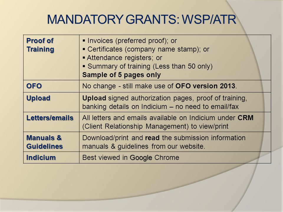 MANDATORY GRANTS: WSP/ATR