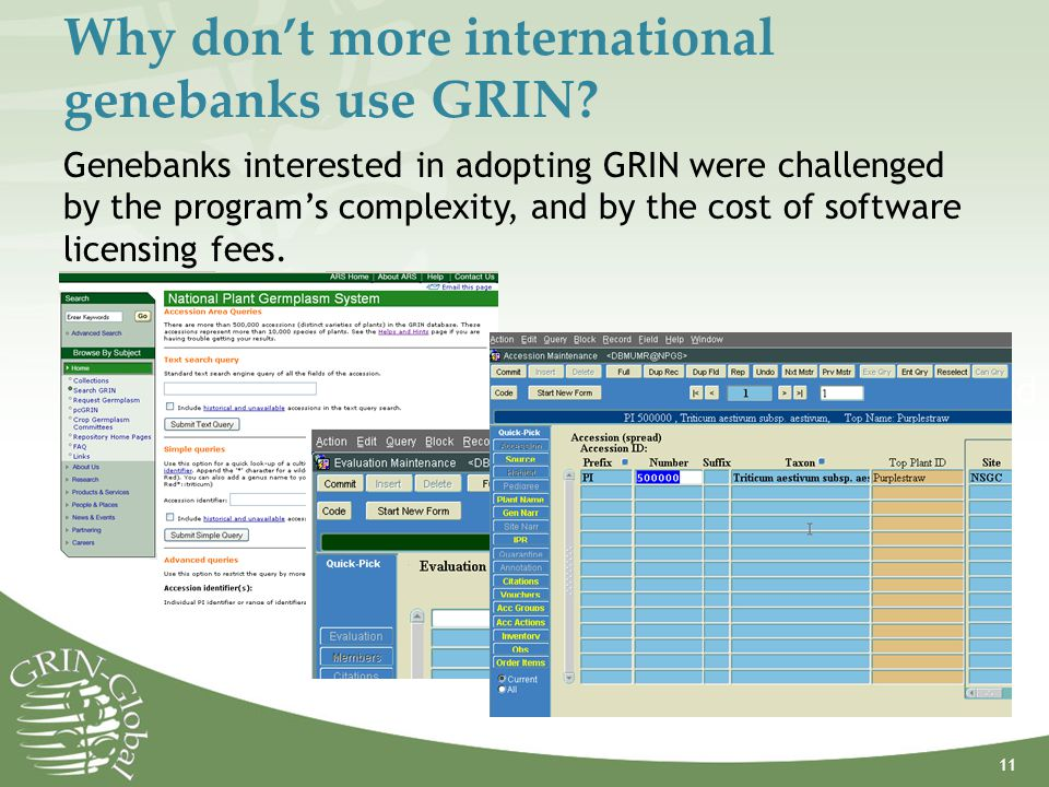 Why don't more international genebanks use GRIN