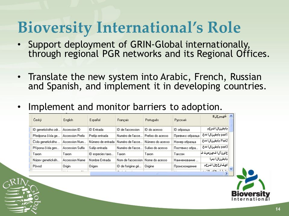 Bioversity International's Role