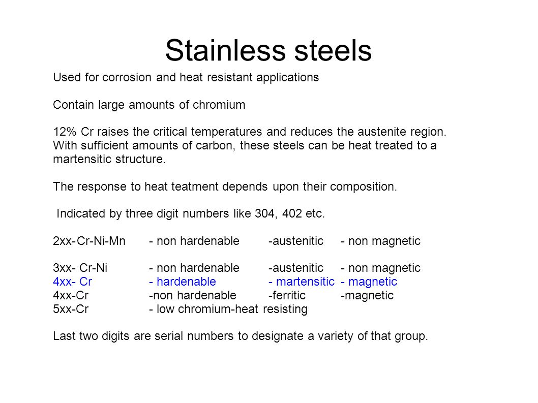 Stainless steels Used for corrosion and heat resistant applications