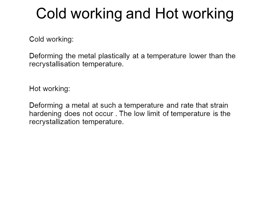 Cold working and Hot working