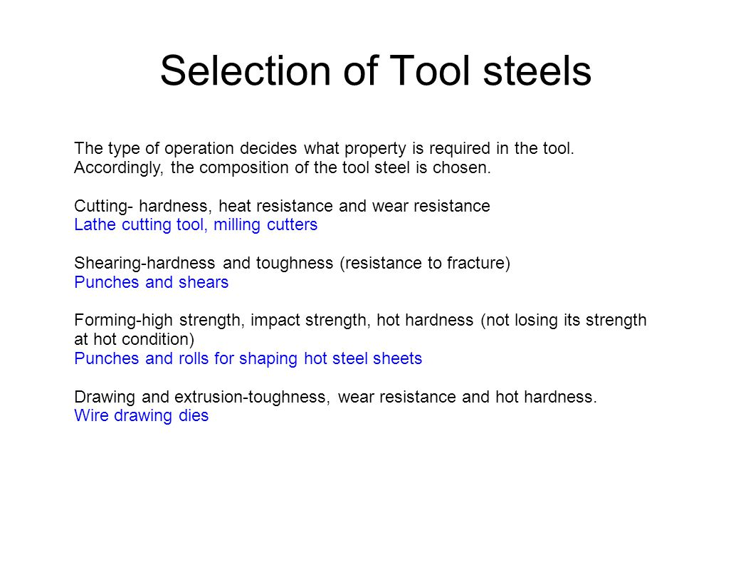 Selection of Tool steels