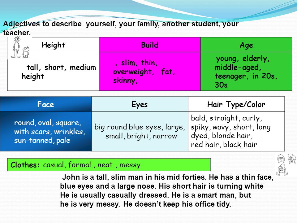 Describing People Adjectives to describe yourself, your family, another student, your teacher. Height.