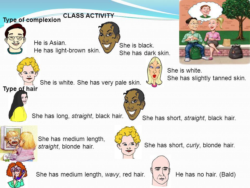 CLASS ACTIVITY Type of complexion. He is Asian. He has light-brown skin. She is black. She has dark skin.