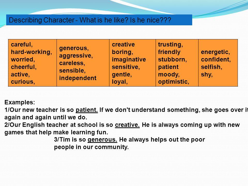 Describing Character - What is he like Is he nice