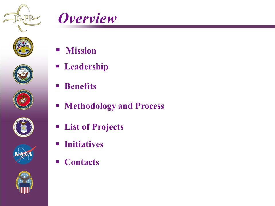 Overview Mission Leadership Benefits Methodology and Process