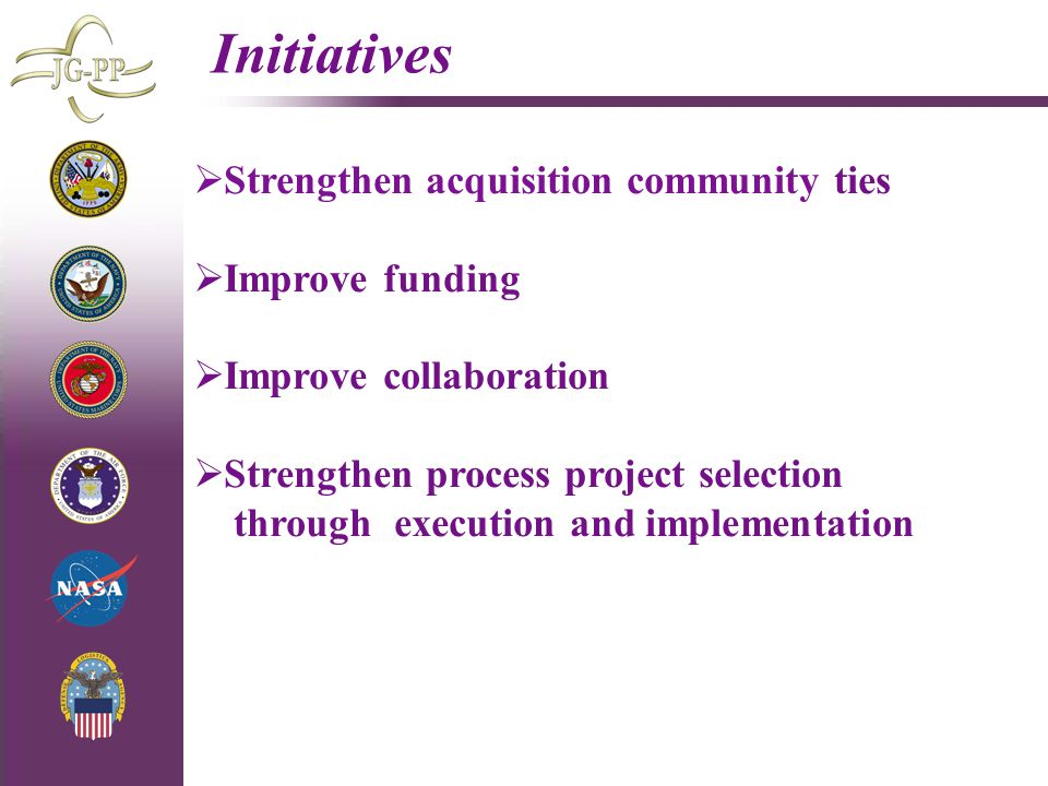 Initiatives Strengthen acquisition community ties Improve funding