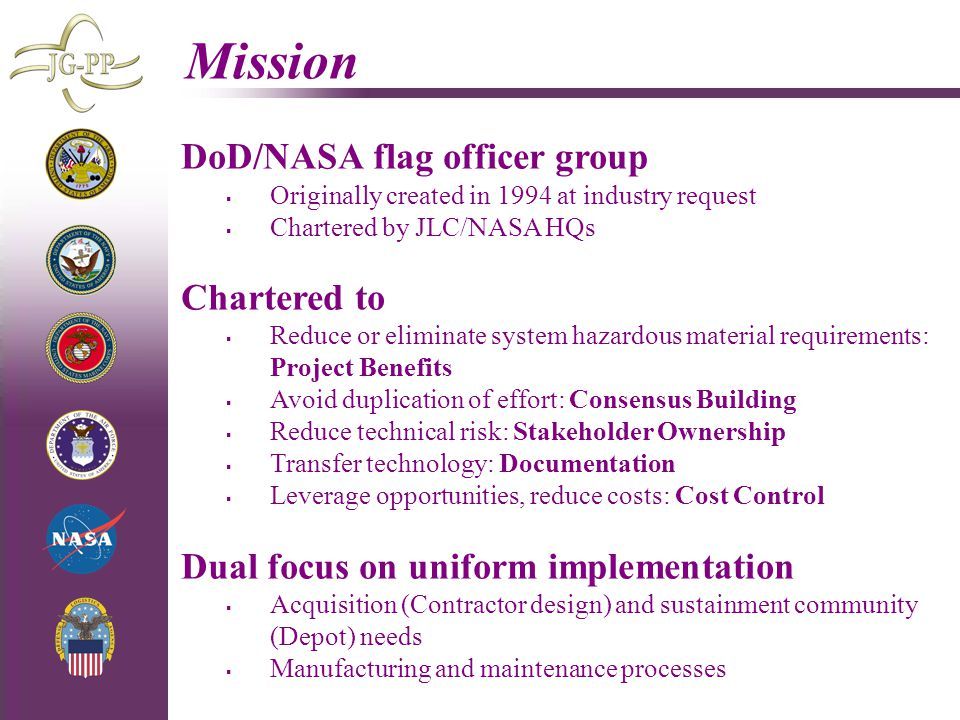 Mission DoD/NASA flag officer group Chartered to