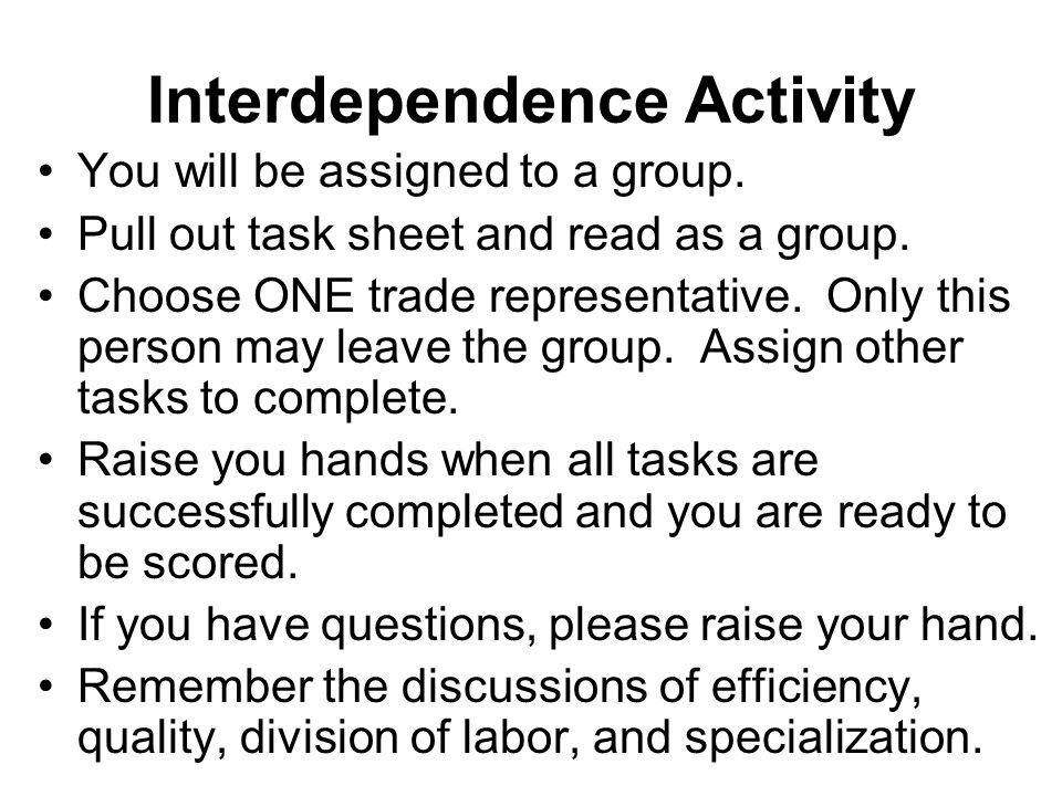 Interdependence Activity