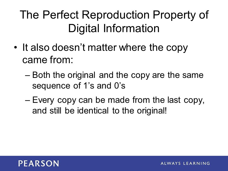 The Perfect Reproduction Property of Digital Information