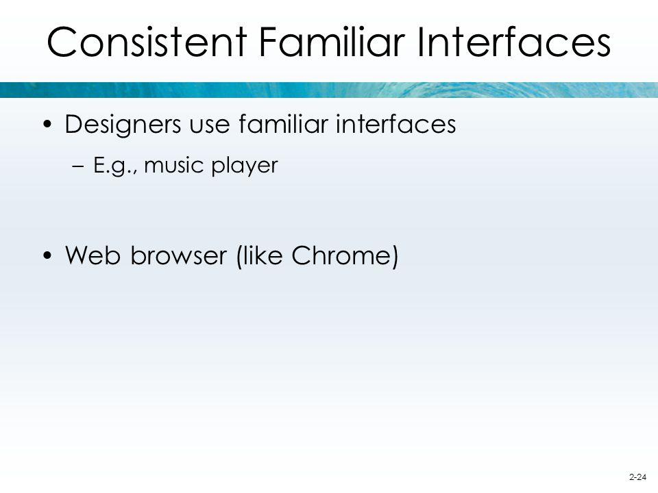 Consistent Familiar Interfaces