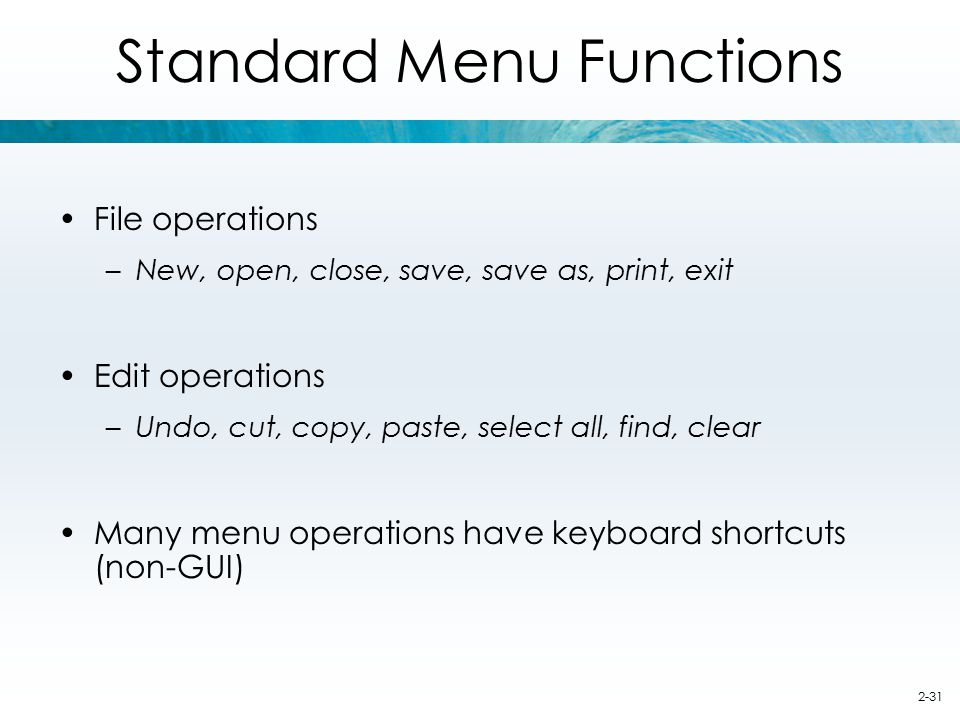 Standard Menu Functions