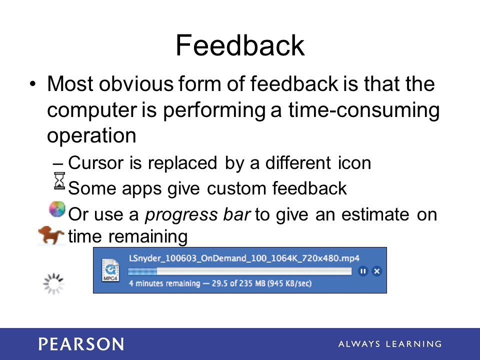 Feedback Most obvious form of feedback is that the computer is performing a time-consuming operation.