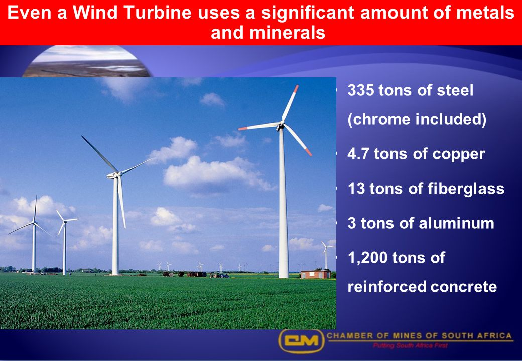 Even a Wind Turbine uses a significant amount of metals and minerals