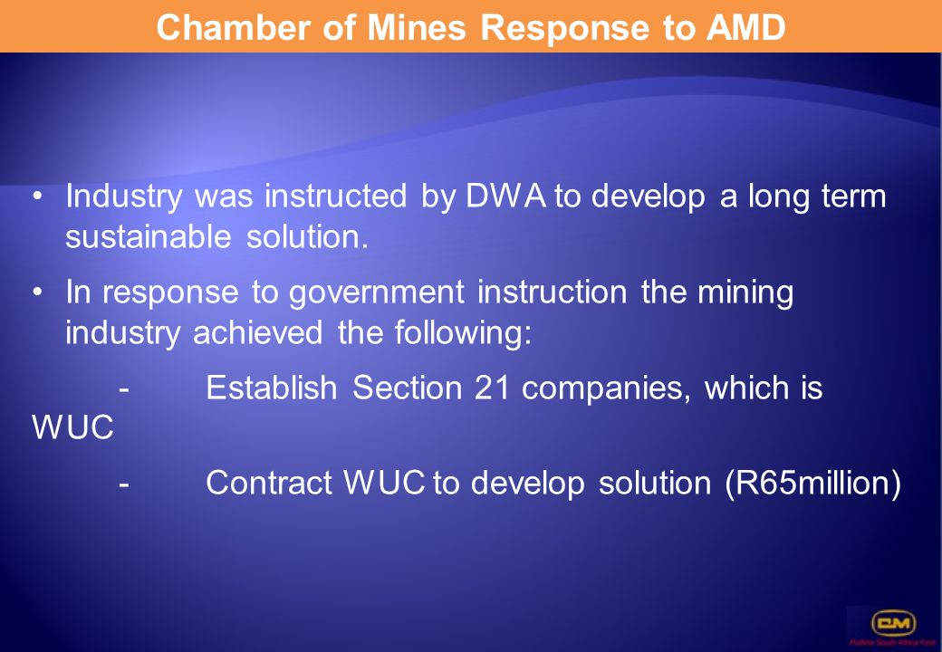 Chamber of Mines Response to AMD