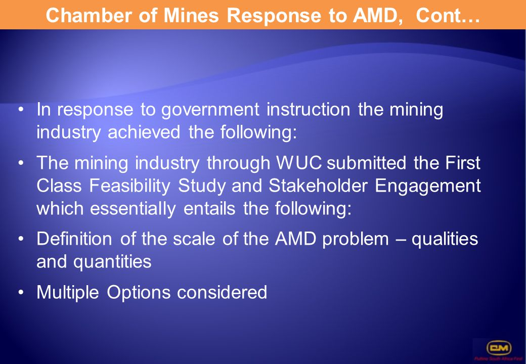 Chamber of Mines Response to AMD, Cont…