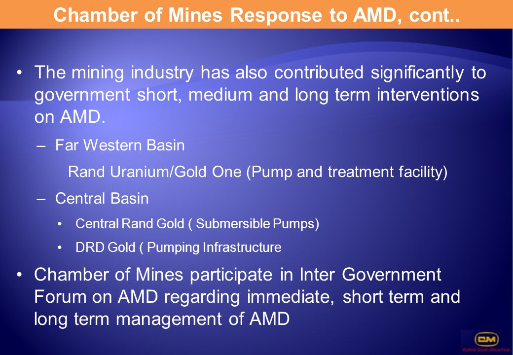 Chamber of Mines Response to AMD, cont..