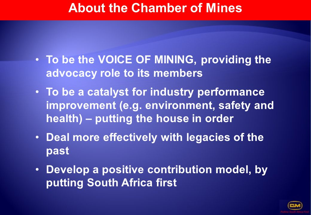 About the Chamber of Mines