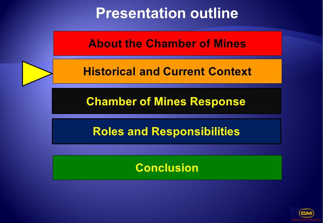 Presentation outline About the Chamber of Mines