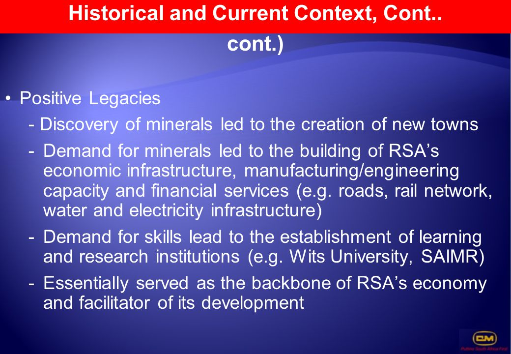 Historical and Current Context, Cont..