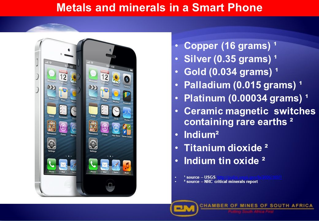 Metals and minerals in a Smart Phone
