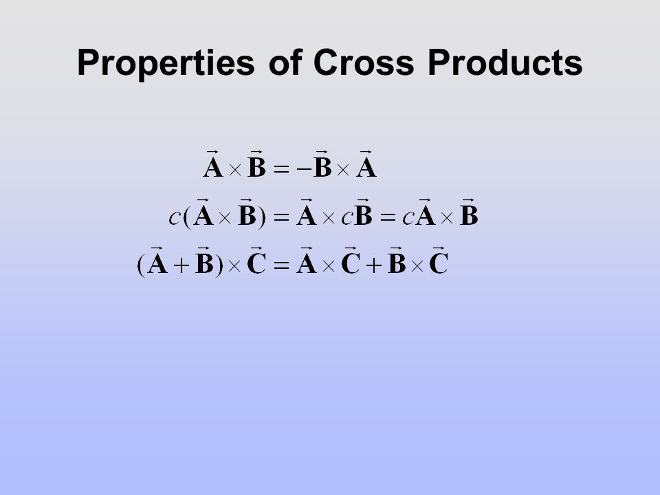 Properties of Cross Products