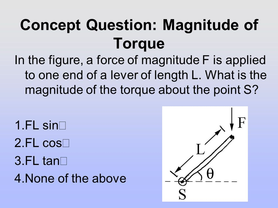 Concept Question: Magnitude of Torque