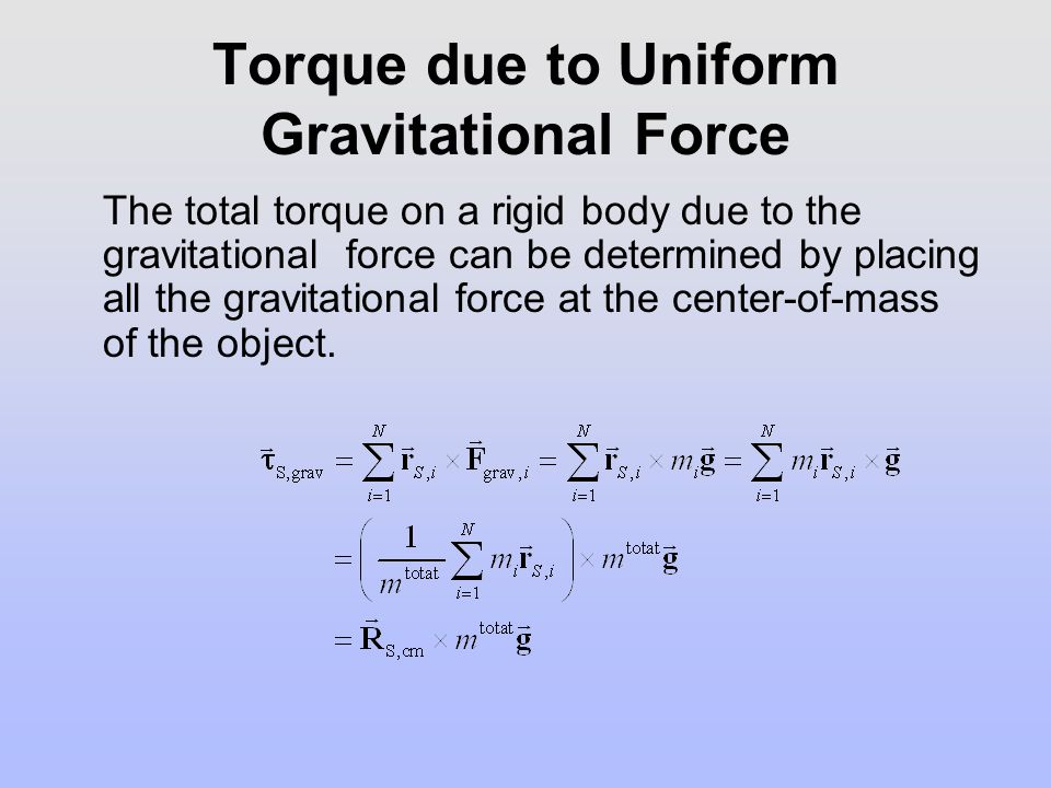 Torque due to Uniform Gravitational Force