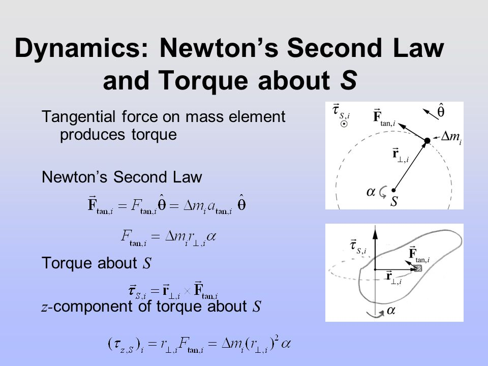 Dynamics: Newton's Second Law and Torque about S