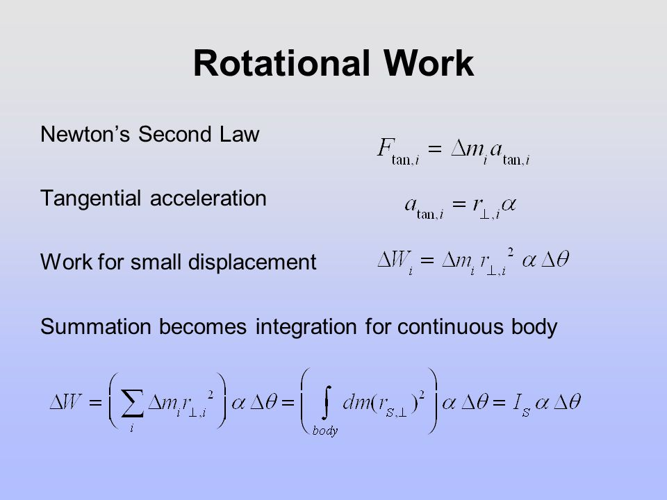 Rotational Work Newton's Second Law Tangential acceleration