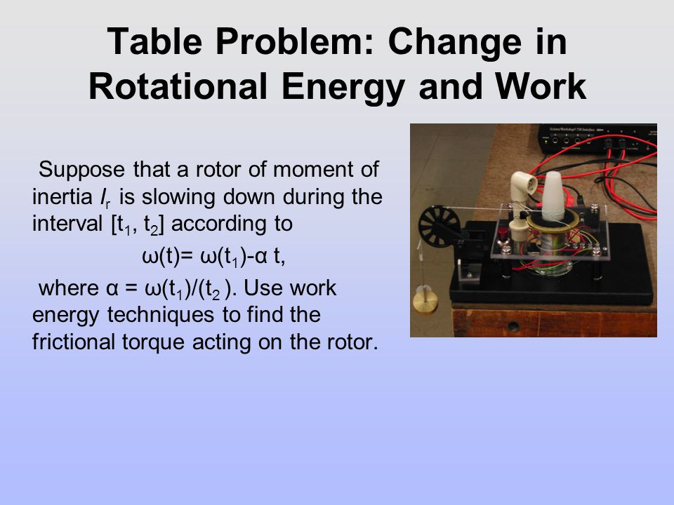 Table Problem: Change in Rotational Energy and Work