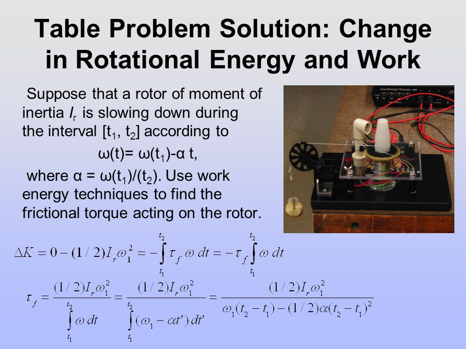 Table Problem Solution: Change in Rotational Energy and Work