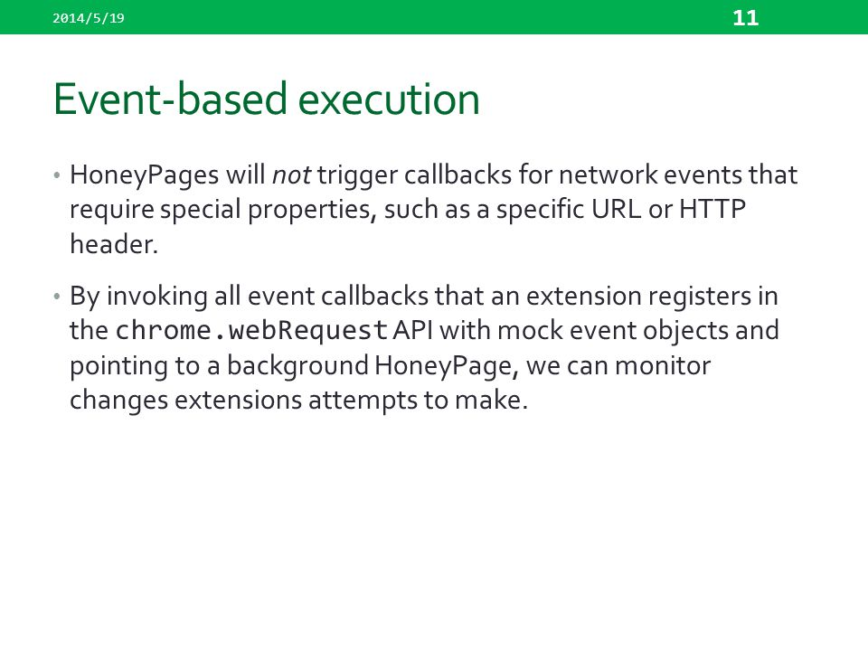 Event-based execution
