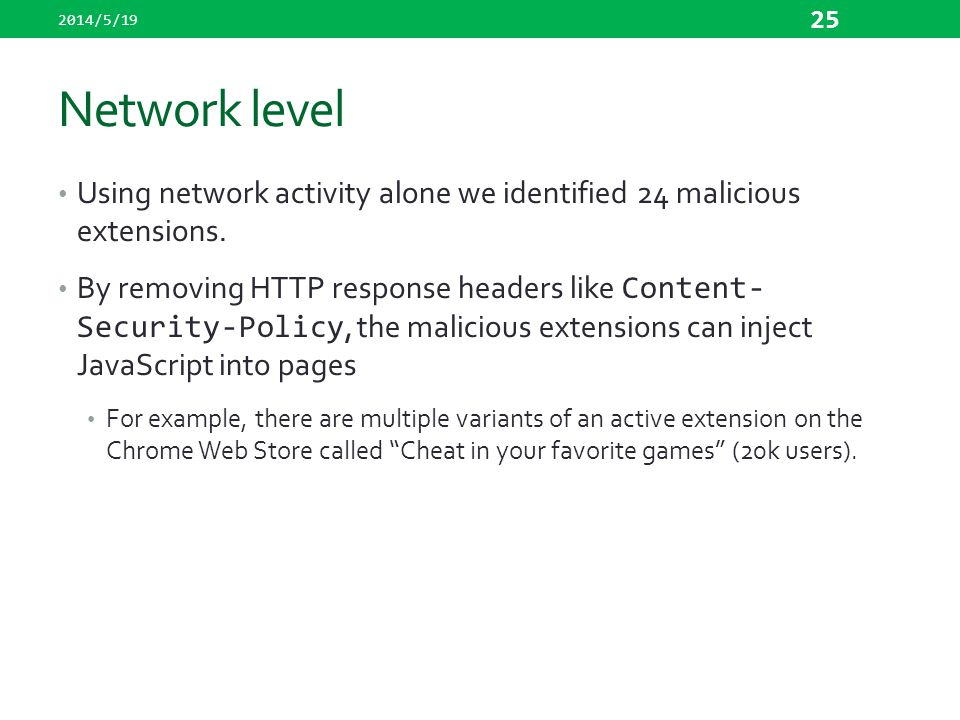 2014/5/19 Network level. Using network activity alone we identified 24 malicious extensions.