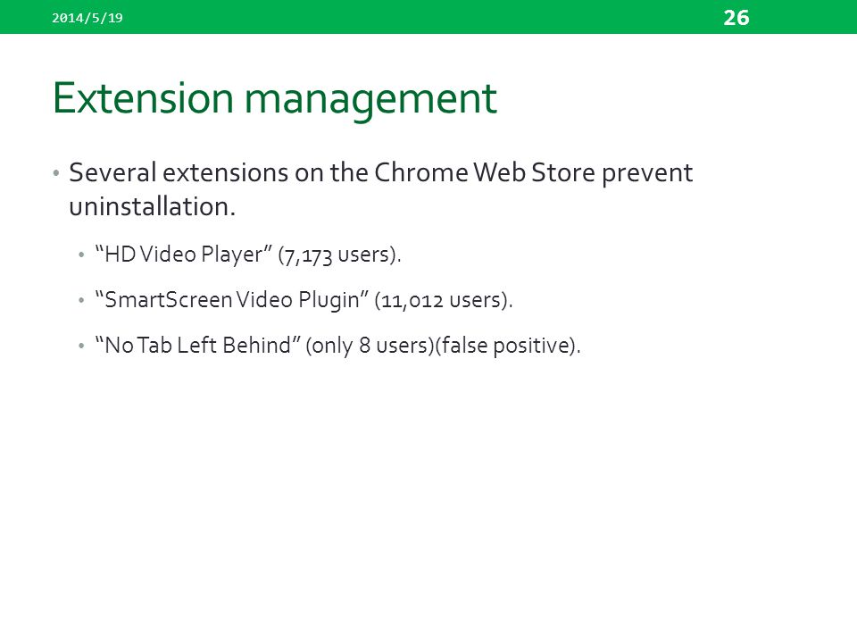 2014/5/19 Extension management. Several extensions on the Chrome Web Store prevent uninstallation.