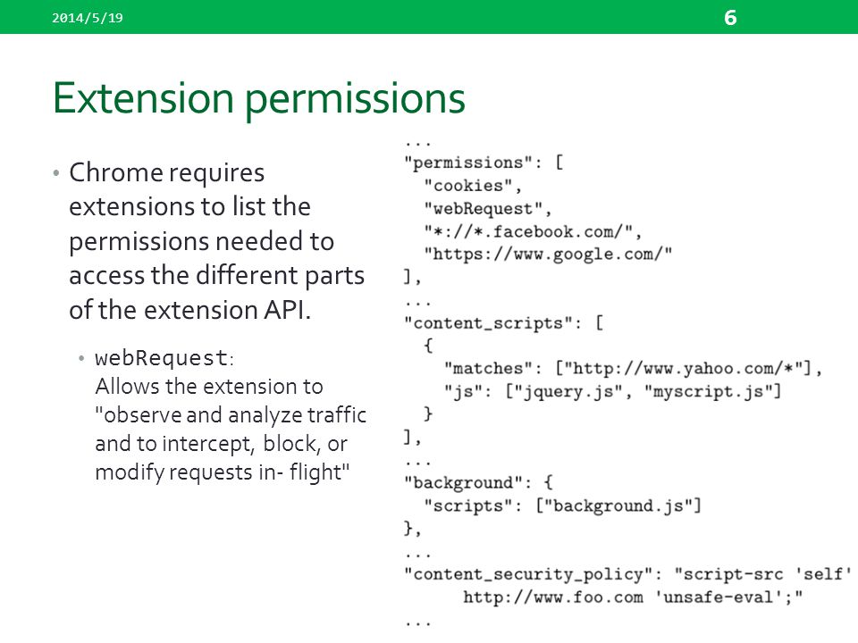 Extension permissions