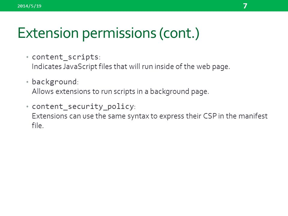 Extension permissions (cont.)