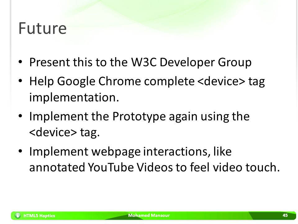 Future Present this to the W3C Developer Group