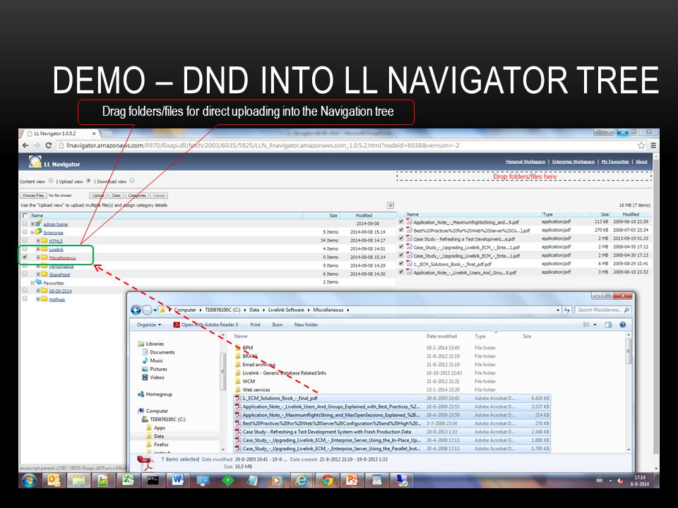 Demo – dnD into LL Navigator tree