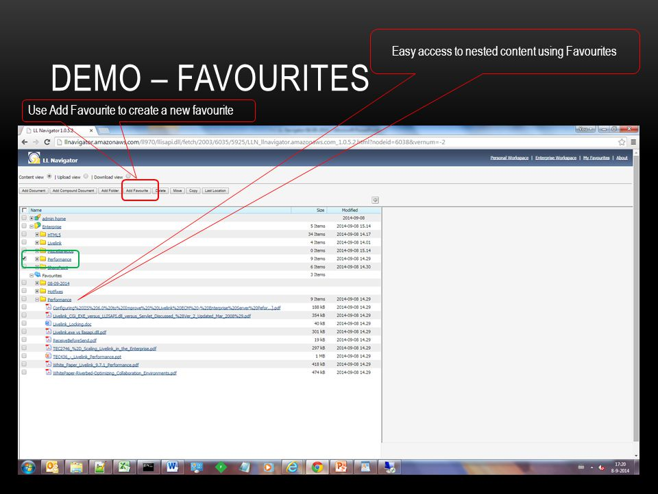 Demo – Favourites Easy access to nested content using Favourites