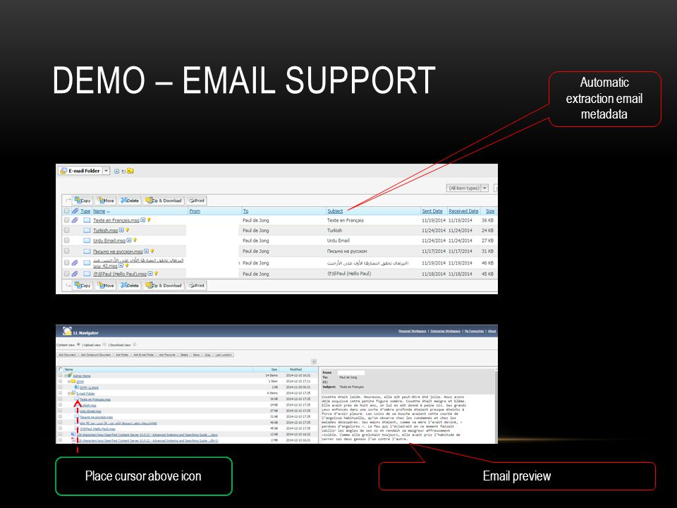 Demo – Email support Automatic extraction email metadata