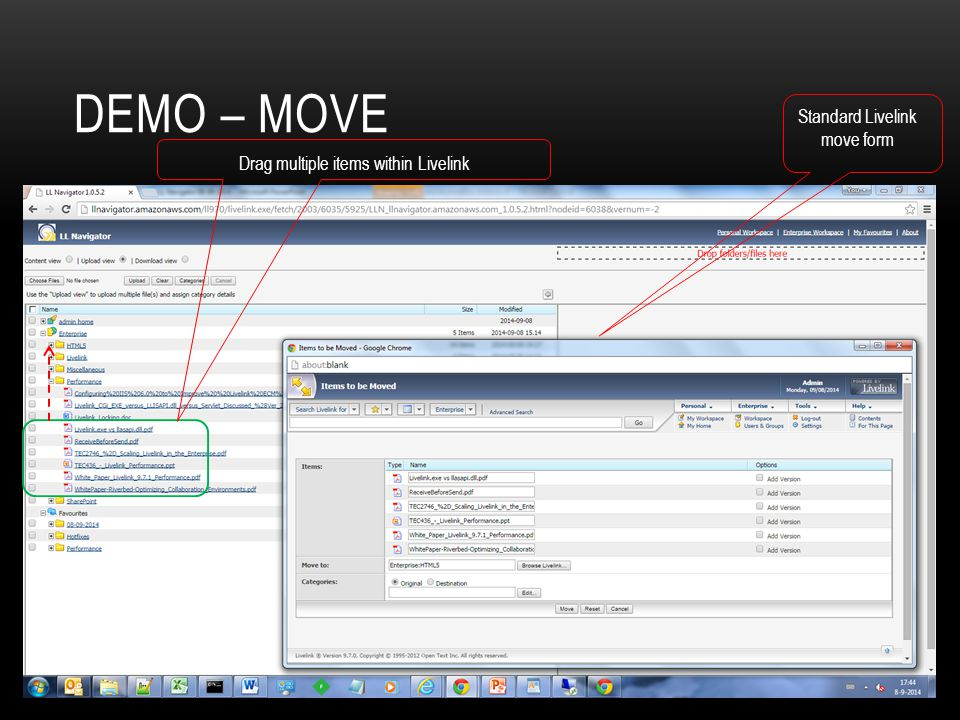 Demo – Move Standard Livelink move form