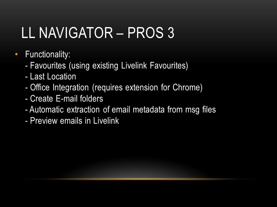 LL Navigator – pros 3