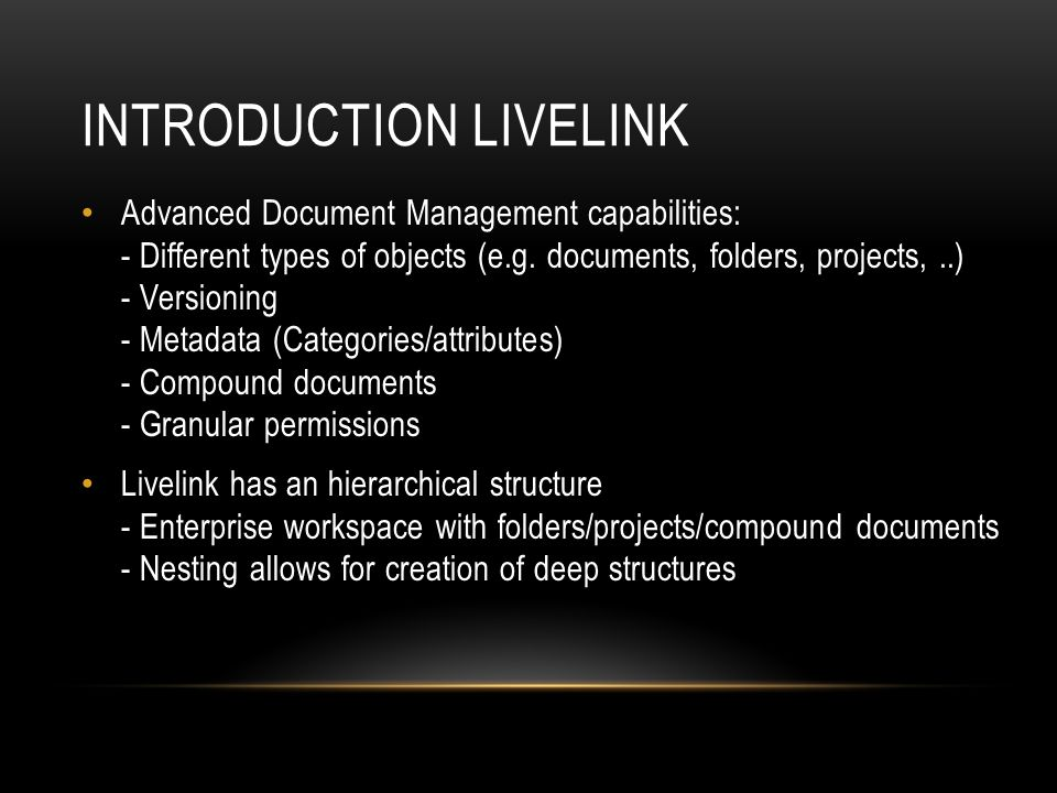 Introduction Livelink