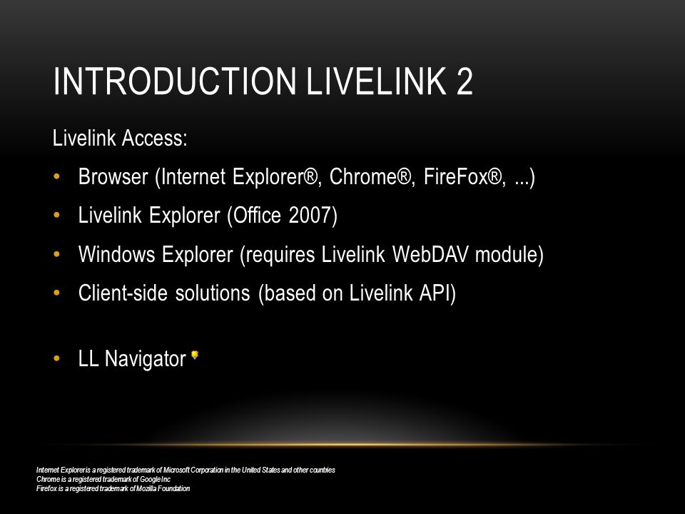 Introduction Livelink 2