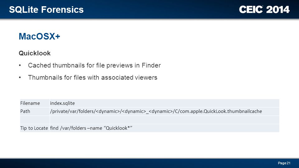 SQLite Forensics MacOSX+ Quicklook