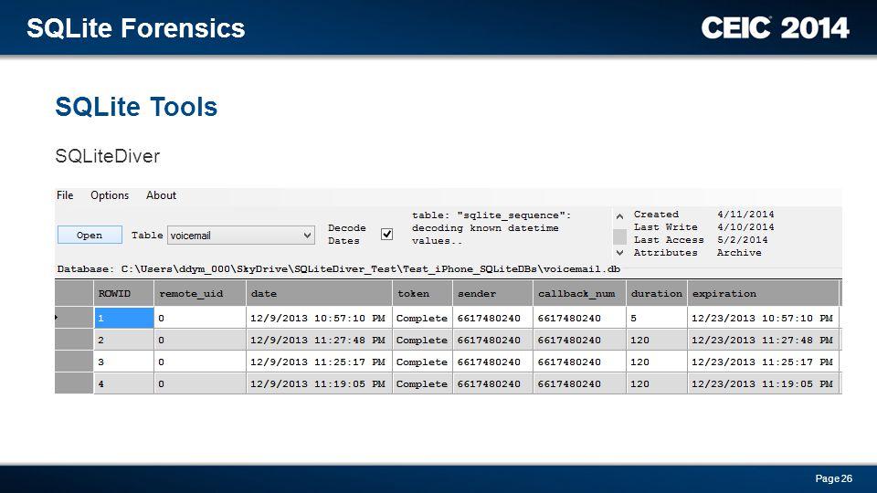 SQLite Forensics SQLite Tools SQLiteDiver